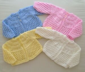 0-3m Baby Boys Girls Hand Knitted Matinee Coat Cardigan Pink White Blue Lemon