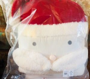 Pottery Barn Kids Sherpa Santa Pillow Christmas Holiday Clause Face New