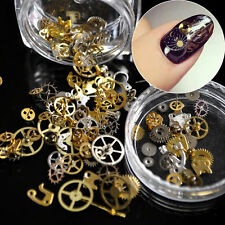 200pcs Glitter 3D DIY Nail Art Wheel Gold Stickers Steampunk Gear Shape Decor