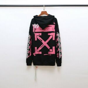 NEW OFF WHITE lovers' brush paint alphanumeric 99 print arrow coat sweater