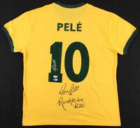 Pele, Ronaldo, & Ronaldinho Signed Brazil Jersey Beckett LOA & PSA Hologram