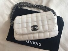 Collectors Chanel White Square Quilted Leather Mini Flap Handbag Multi Chain Bag