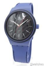 New Swatch SISTEM AQUA Automatic Blue Silicone Date Watch 42mm SUTN402 $150
