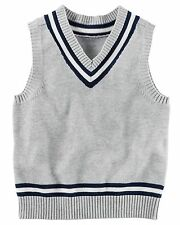 Carter's Boys' Gray V-Neck Sweater Vest with Tennis Strips NWT classic layering
