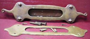 AUTHENTIC ANTIQUE CAST BRASS MAIL SLOT & INSIDE TRIM PLATE W/ORIGINAL SCREWS #1