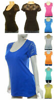 WOMENS ROMANTIC EMBROIDERED LACE SHORT SLEEVE STRETCH T SHIRT TOP JR N PLUS S-3X