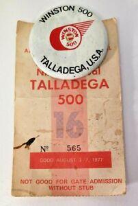 Winston 500 Button with 1977 Talladega 500 Ticket Stub Lot of 2