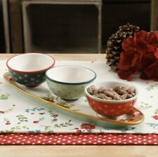 The Pioneer Woman 4 piece Garland Ceramic Condiment Set- Christmas Serving Bowls