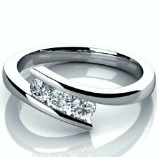 Brand New 0.30Ct Tension Set 3 Diamond Trilogy Engagement Ring in White Gold.