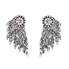 Fashion Black Gothic Womens Jewelry Angel Wings Rhinestone Stud Earrings Gifts