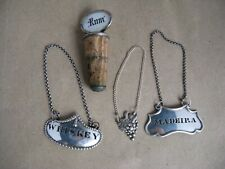 Silver plated Wine labels x 3 + decanter stopper.