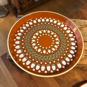 Vintage Round Pat Albeck Serving Tray with Acorns & Leaves Design – Retro! –