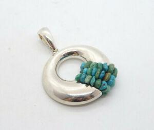 Whitney Kelly Sterling Silver Turquoise Beads Fancy Slide Pendant, 21.9g
