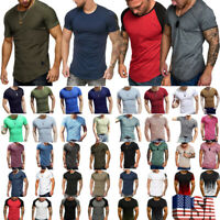 US Summer Mens Slim Fit O-Neck Short Sleeve Muscle Tee Shirts Casual Shirt Tops