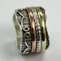 Solid 925 Sterling Silver Spinner,Meditation Ring Statement Ring Size T RR1397