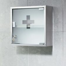 Bathroom Lockable Medicine Cabinet Stainless Steel Frosted Glass 300mm Stylish