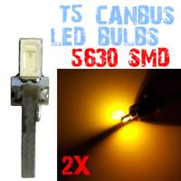 2 Bombillas LED T5 5630 CANBUS Bulb Dashboard No Error Coche Cupula Amarillo 2E1