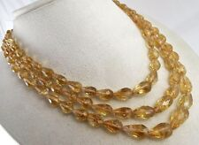 NATURAL CITRINE BEADS FACETED TEAR DROPS 3 LINE 442 CARATS FASHION NECKLACE