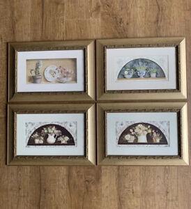 Set Of Four Framed Prints Floral Design Gold Framed
