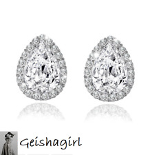 Teardrop CZ Gem Crystal Stud Ear Earrings Silver Bride Wedding Prom UK Seller