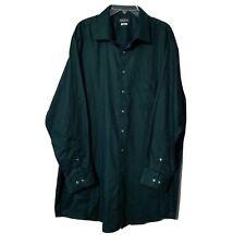 Van Heusen Men's Button Down Shirt ~ Sz 18.5 (34/35) ~ Dark Green ~ Tall Fit