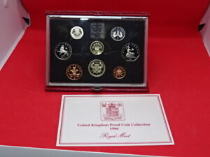 ROYAL MINT 1986 RED CASED PROOF SET OF 8 COINS & COA