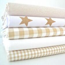 5 X FAT QUARTER BUNDLE - BEIGE STARS GINGHAM & CHAMBRAY-  COTTON RICH FABRIC