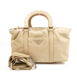 PRADA Handbag Shoulder Bag 2WAY Mini Bag Triangle Logo Nylon Beige