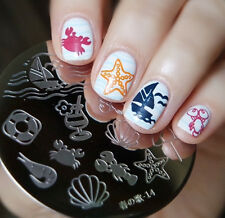 Harunouta-14 Round Nail Art Stamping Image Plate Template Summer Ocean Design
