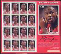 Michael Jordan Sports Legends Chicago Bulls St Vincent & Granadines Stamp Sheet