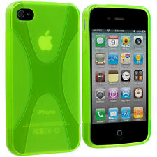 Neon Green X-Line TPU Rubber Skin Case Cover Accessory for iPhone 4 4S 4G