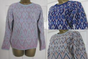 New Ladies Bon Marche Diamond Print Jumper Knitwear Top Soft Cosy Size 10-18