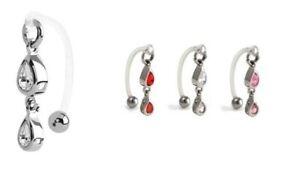 Bioflex Curved Bar + Double Drop CZ ~ Female Intimate Piercing, Christina VCH