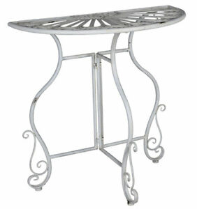 Console Table White Metal Semicircular Wall Side Country Style