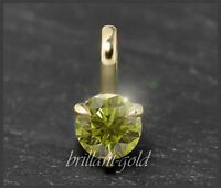 Diamant 585 Gold Brillant Anhänger mit 0,25 ct; Si, grüngelb, natürliche Farbe!