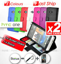 2 x PACK Premium Wallet Flip Stand Leather Case Cover For HTC ONE M7 810e SYDNEY
