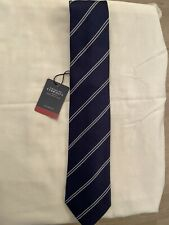 Charles Tyrwhitt wool & silk navy and white striped tie