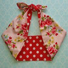 vintage pink rose red polka dot rockabilly,pin up, bandana headband,hairband