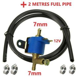 Petrol diesel fuel solenoid shut off lock off valve 12V+ 2 METERS FUEL PIPE