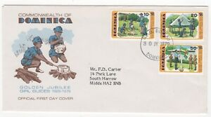 1979 DOMINICA First Day Cover GIRL GUIDES JUBILEE SG672/4 Roseau to Harrow GB