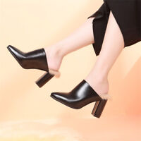 Eur Size 35-39 Womens Faux Fur Mules High Heels Pointed Toe Black Casual Shoes