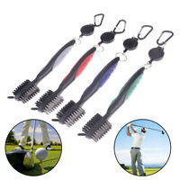 2 Sided Golf Club Brush Groove Cleaner With Retractable Reel Cleaning T J+