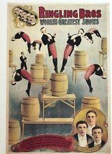 Vintage Circus Advertising Poster Lithograph Ringling Bros Raschetta 2002