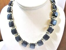 CLASSIC CHARCOAL GRAY MOONGLOW THERMOSET NEKCLACE SIGNED SILVER TONE SQUARE