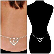 "Sexy Silver ""DOUBLE HEARTS"" Crystal Rhinestones Women's Adjustable Waist Chain"