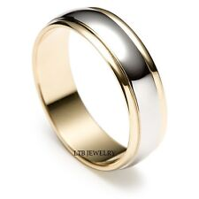 MENS 14K TWO TONE GOLD WEDDING BANDS ,SATIN FINISH 6MM SOLID GOLD WEDDING RINGS