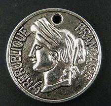 15pcs Tibetan Silver Saint Coin Pendants 27x3.5mm 9380-1