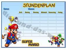 ★ > SUPER MARIO Bros. Din A4 STUNDENPLAN Neu Schule ★