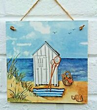 Nautical Seaside Beach Hut & Fishing Net Wooden Chic Shabby Picture Plaque