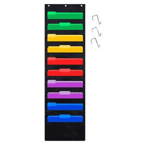 Hanging Wall File Organizer 10 Pocket Storage Magazine Holder Home Office Schodu